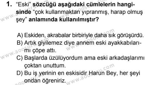 Türkçe 8 Dersi 2017 - 2018 Yılı 1. Dönem Sınavı 1. Soru