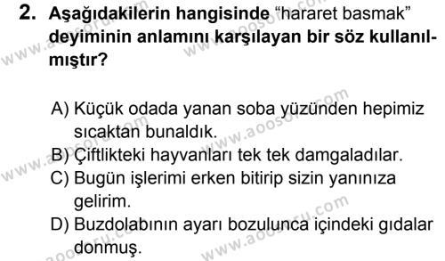 Türkçe 8 Dersi 2017 - 2018 Yılı 1. Dönem Sınavı 2. Soru