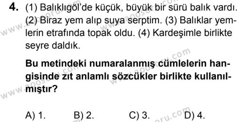 Türkçe 8 Dersi 2017 - 2018 Yılı 1. Dönem Sınavı 4. Soru