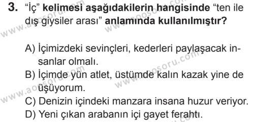 Türkçe 8 Dersi 2017 - 2018 Yılı 2. Dönem Sınavı 3. Soru