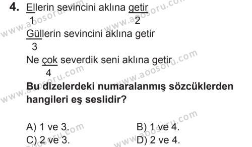 Türkçe 8 Dersi 2017 - 2018 Yılı 2. Dönem Sınavı 4. Soru