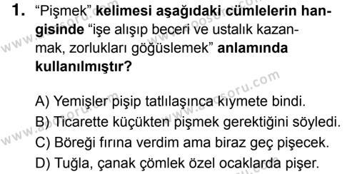Türkçe 8 Dersi 2017 - 2018 Yılı 3. Dönem Sınavı 1. Soru