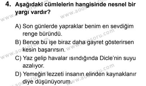 Türkçe 8 Dersi 2017 - 2018 Yılı 3. Dönem Sınavı 4. Soru