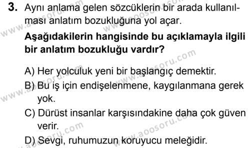 Türkçe 8 Dersi 2018 - 2019 Yılı 1. Dönem Sınavı 3. Soru
