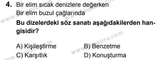 Türkçe 8 Dersi 2018 - 2019 Yılı 1. Dönem Sınavı 4. Soru