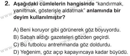 Türkçe 8 Dersi 2018 - 2019 Yılı 2. Dönem Sınavı 2. Soru