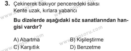 Türkçe 8 Dersi 2018 - 2019 Yılı 2. Dönem Sınavı 3. Soru
