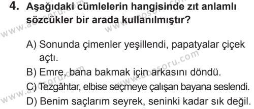 Türkçe 8 Dersi 2018 - 2019 Yılı 2. Dönem Sınavı 4. Soru