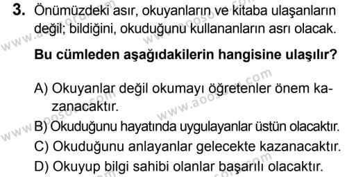 Türkçe 8 Dersi 2018 - 2019 Yılı 3. Dönem Sınavı 3. Soru