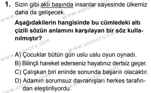 Türkçe 8 Dersi 2019 - 2020 Yılı 1. Dönem Sınavı 1. Soru