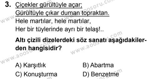 Türkçe 8 Dersi 2019 - 2020 Yılı 1. Dönem Sınavı 3. Soru