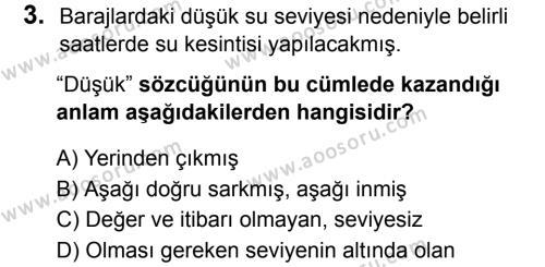 Türkçe 8 Dersi 2019 - 2020 Yılı 2. Dönem Sınavı 3. Soru