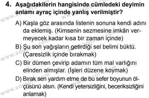 Türkçe 8 Dersi 2019 - 2020 Yılı 2. Dönem Sınavı 4. Soru